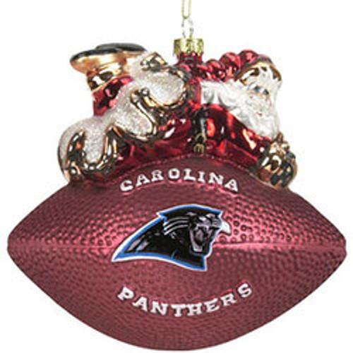 Carolina Panthers Ornament 5 1/2 Inch Peggy Abrams Glass Football