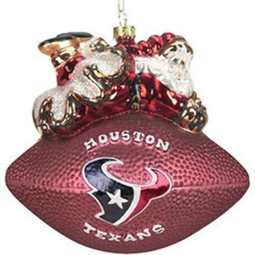 Houston Texans 5 1/2 Peggy Abrams Glass Football Ornament