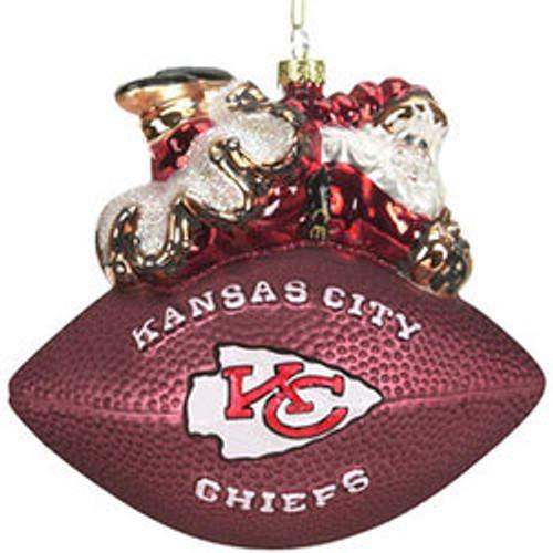 Kansas City Chiefs Ornament 5 1/2 Inch Peggy Abrams Glass Football