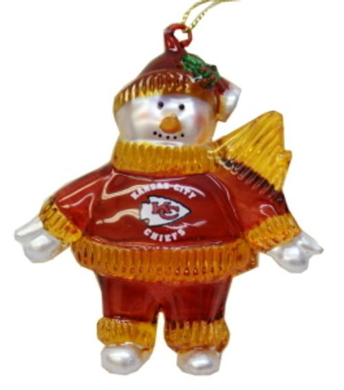 Kansas City Chiefs 2 3/4 Crystal Snowman Ornament CO