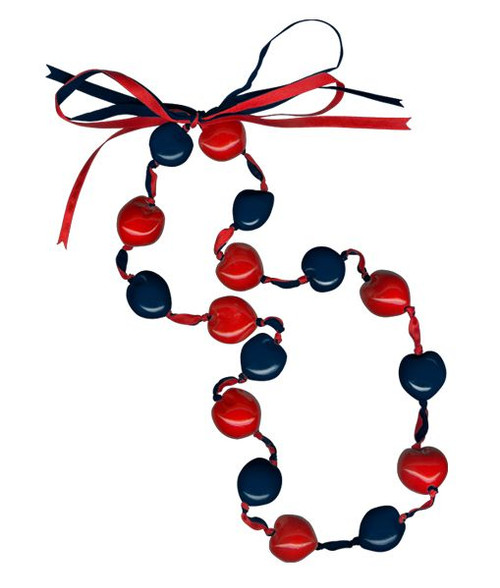 Lucky Kukui Nuts Necklace Navy/Red