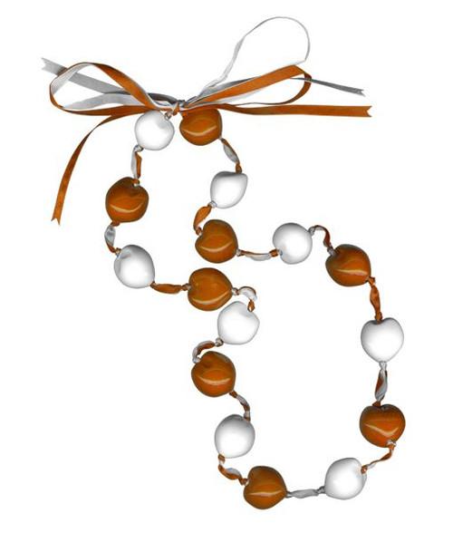 Lucky Kukui Nuts Necklace Orange/White