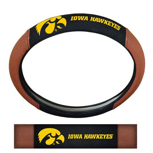 Iowa Hawkeyes Steering Wheel Cover Premium Pigskin Style - Special Order