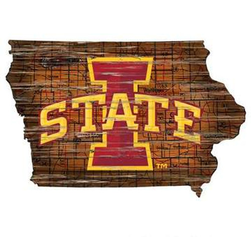 Iowa State Cyclones Sign Wood 24 Inch State Wall Art Design - Special Order