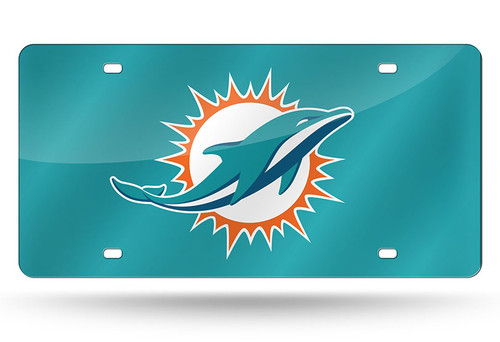 Miami Dolphins License Plate Laser Cut Light Teal