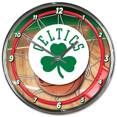 Boston Celtics Clock Round Wall Style Chrome