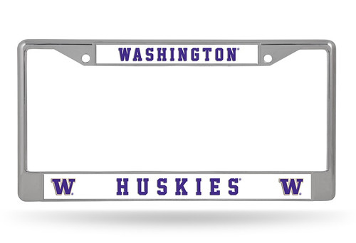 Washington Huskies License Plate Frame Chrome - Special Order
