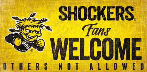 Wichita State Shockers Sign Wood 12x6 Fans Welcome Design - Special Order