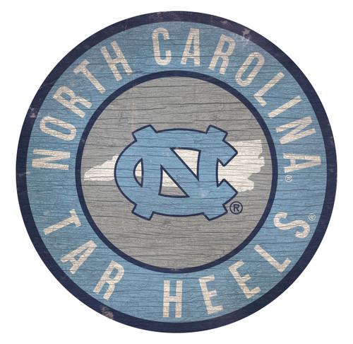 North Carolina Tar Heels Sign Wood 12 Inch Round State Design - Special Order