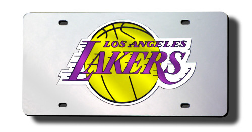 Los Angeles Lakers License Plate Laser Cut Silver