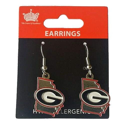 Georgia Bulldogs Earrings State Design - Special Order