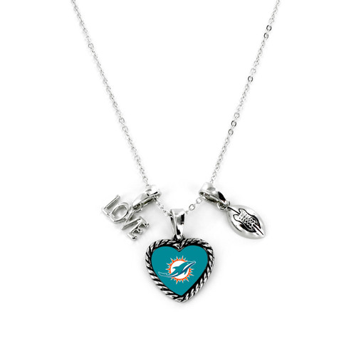 Miami Dolphins Necklace Charmed Sport Love Football - Special Order