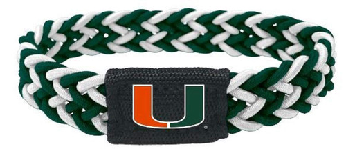 Miami Hurricanes Bracelet Braided Dark Green and White Special Order