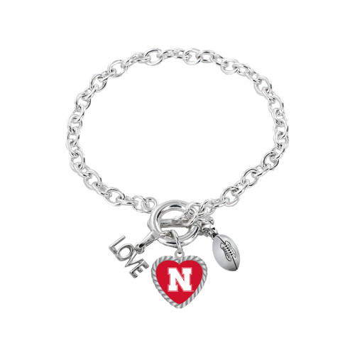 Nebraska Cornhuskers Bracelet Charmed Sport Love Football