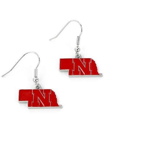 Nebraska Cornhuskers Earrings State Design - Special Order