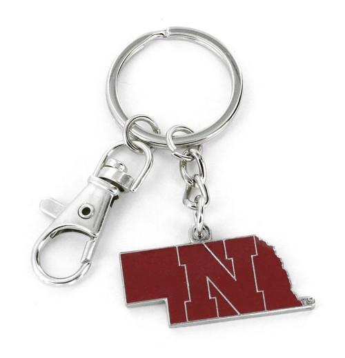 Nebraska Cornhuskers Keychain State Design