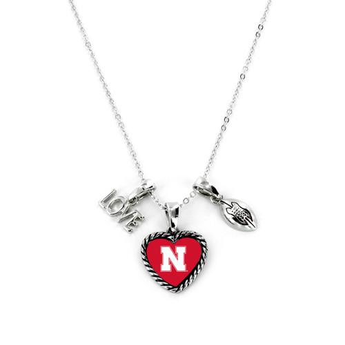 Nebraska Cornhuskers Necklace Charmed Sport Love Football