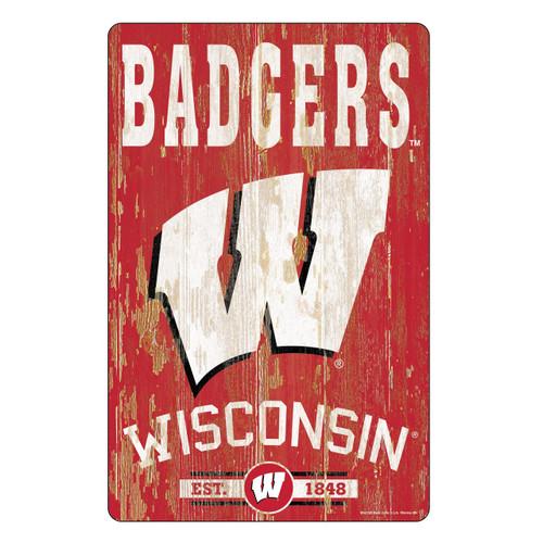 Wisconsin Badgers Sign 11x17 Wood Slogan Design