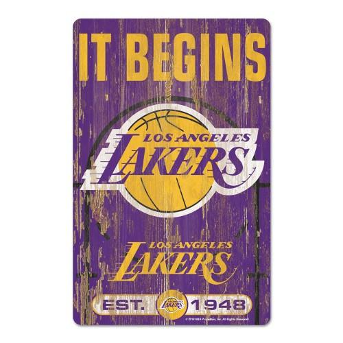 Los Angeles Lakers Sign 11x17 Wood Slogan Design