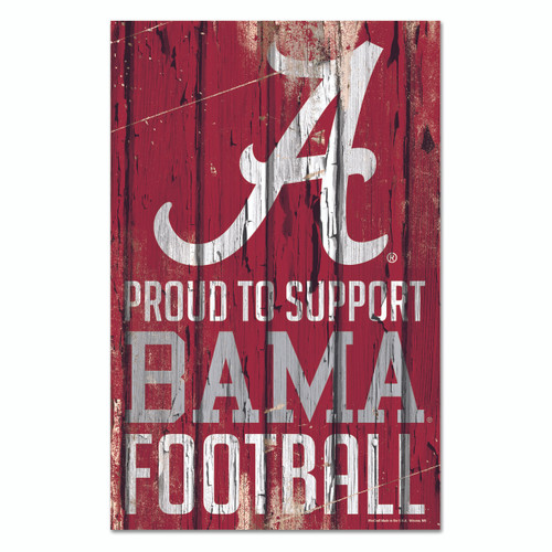 Alabama Crimson Tide Sign 11x17 Wood Proud to Support Design