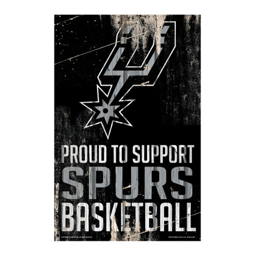 San Antonio Spurs Sign 11x17 Wood Proud to Support Design - Special Order