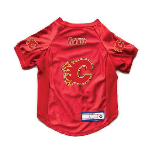 Calgary Flames Pet Jersey Stretch Size M - Special Order