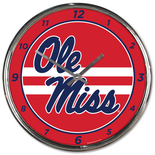 Mississippi Rebels Clock Round Wall Style Chrome