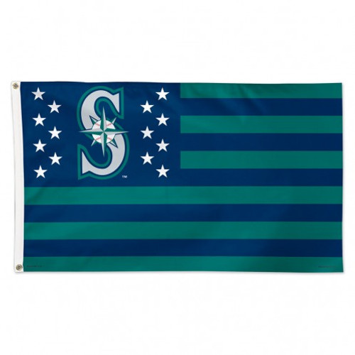 Seattle Mariners Flag 3x5 Deluxe Style Stars and Stripes Design - Special Order