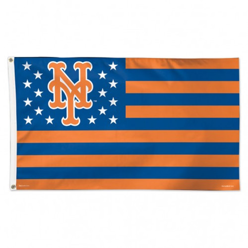 New York Mets Flag 3x5 Deluxe Style Stars and Stripes Design