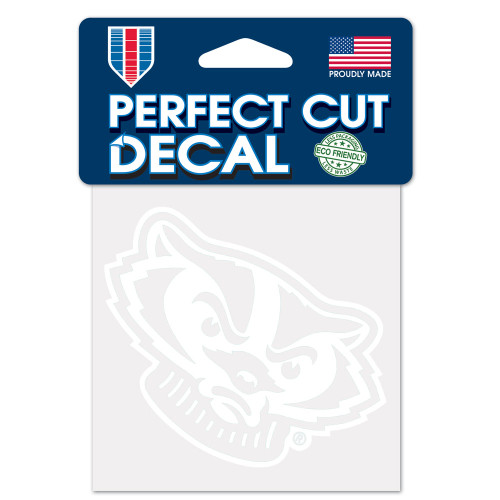 Wisconsin Badgers Decal 4x4 Perfect Cut White