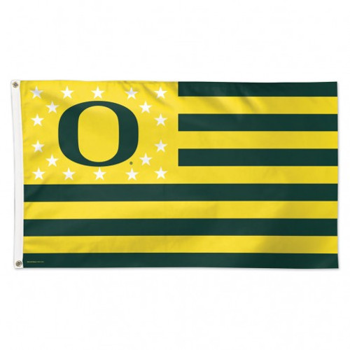 Oregon Ducks Flag 3x5 Deluxe Style Stars and Stripes Design - Special Order