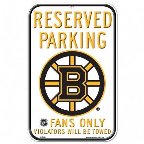 Boston Bruins Sign 11x17 Plastic Reserved Parking Style - Special Order