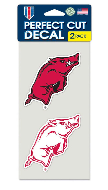 Arkansas Razorbacks Decal 4x4 Perfect Cut Set of 2 - Special Order