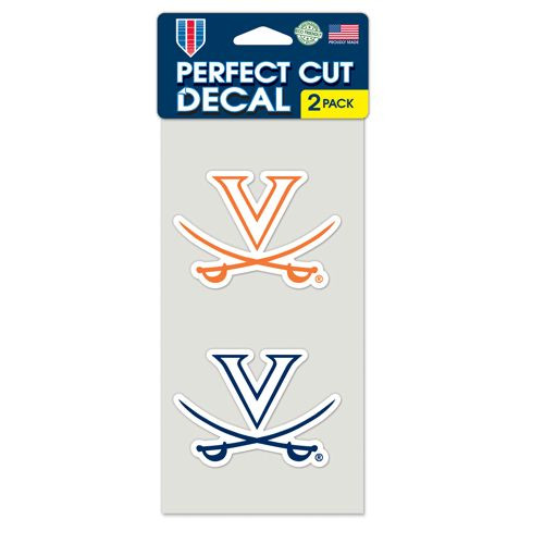 Virginia Cavaliers Decal 4x4 Perfect Cut Set of 2 - Special Order