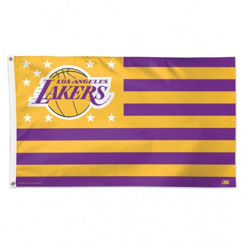 Los Angeles Lakers Flag 3x5 Deluxe Style Stars and Stripes Design - Special Order