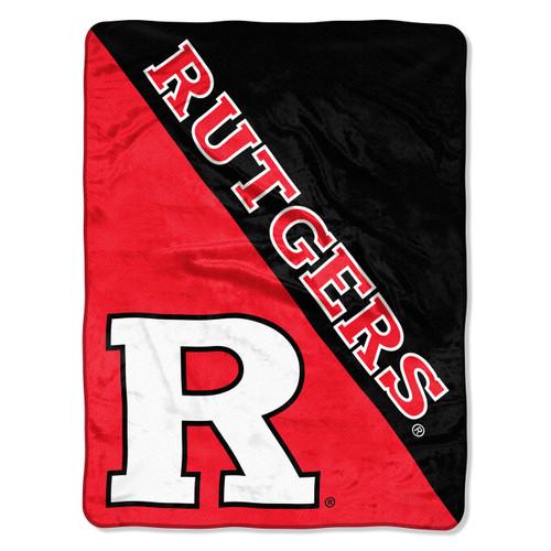 Rutgers Scarlet Knights Blanket 46x60 Micro Raschel Halftone Design Rolled - Special Order