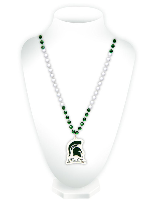 Michigan State Spartans Beads with Medallion Mardi Gras Style - Special Order