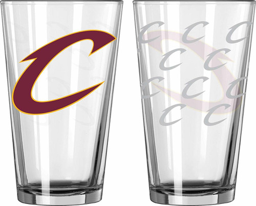 Cleveland Cavaliers Glass Pint Satin Etch 2 Piece Set - Special Order