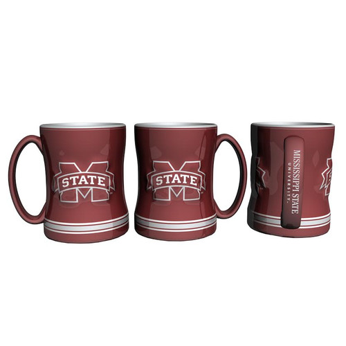 Mississippi State Bulldogs Coffee Mug 14oz Sculpted Relief