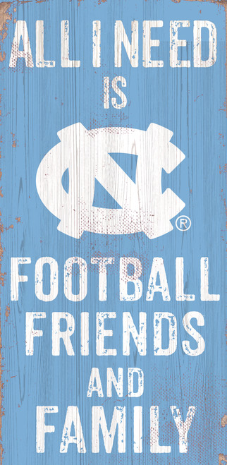 North Carolina Tar Heels Sign Wood 6x12 Football Friends and Family Design Color - Special Order