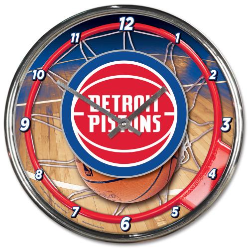 Detroit Pistons Clock Round Wall Style Chrome
