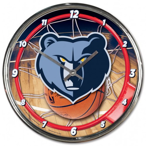 Memphis Grizzlies Clock Round Wall Style Chrome