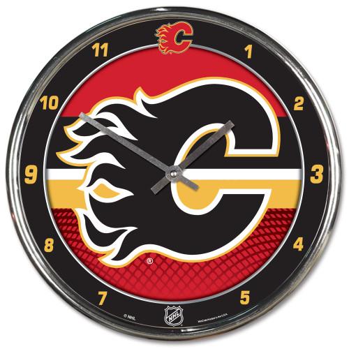 Calgary Flames Clock Round Wall Style Chrome
