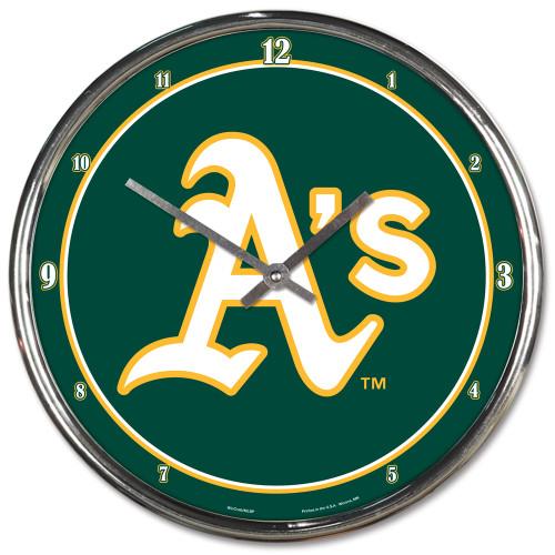 Oakland Athletics Clock Round Wall Style Chrome