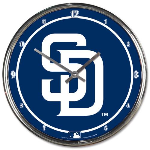 San Diego Padres Clock Round Wall Style Chrome