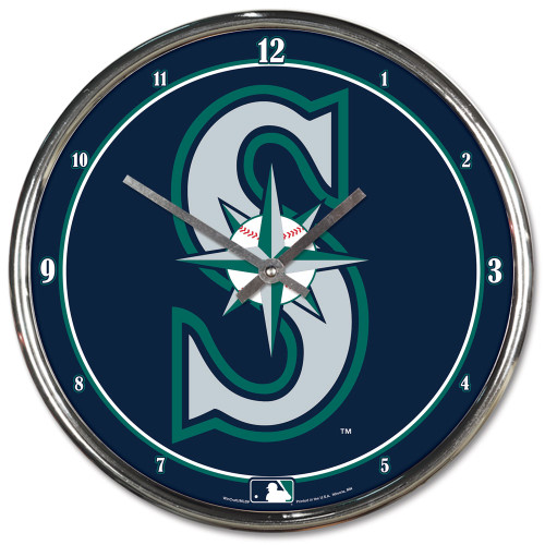 Seattle Mariners Clock Round Wall Style Chrome
