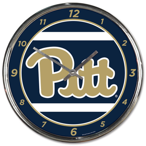 Pittsburgh Panthers Round Chrome Wall Clock