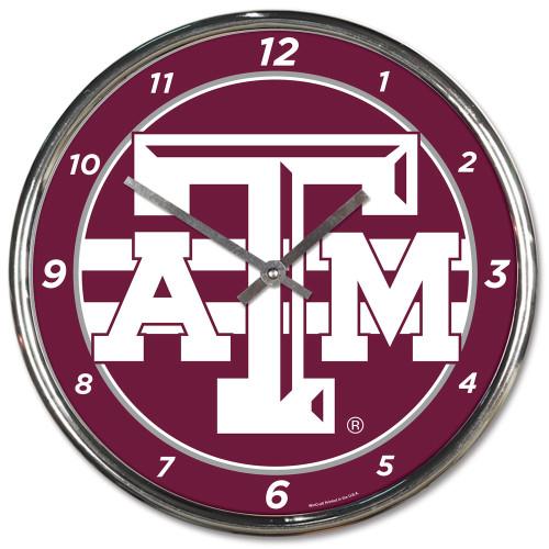 Texas A&M Aggies Round Chrome Wall Clock