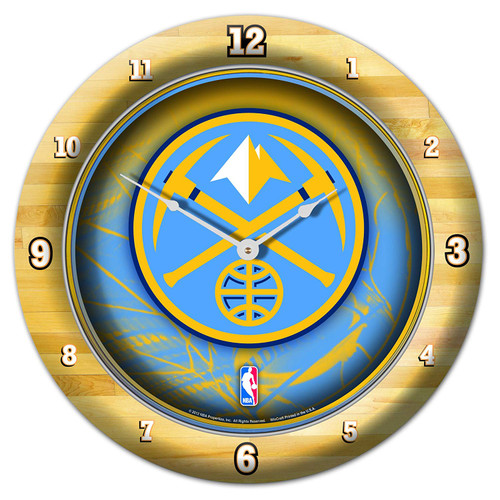 Denver Nuggets Clock Round Wall Style Chrome