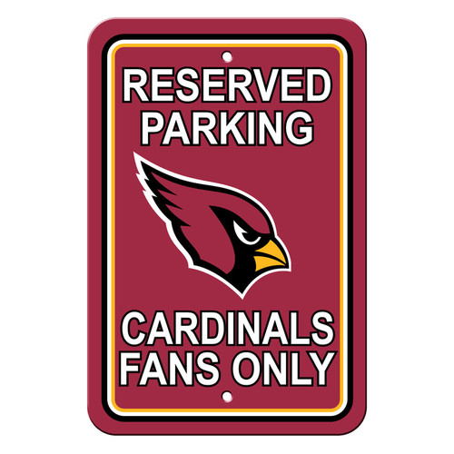 Arizona Cardinals Sign - Plastic - Reserved Parking - 12 in x 18 in - Special Order